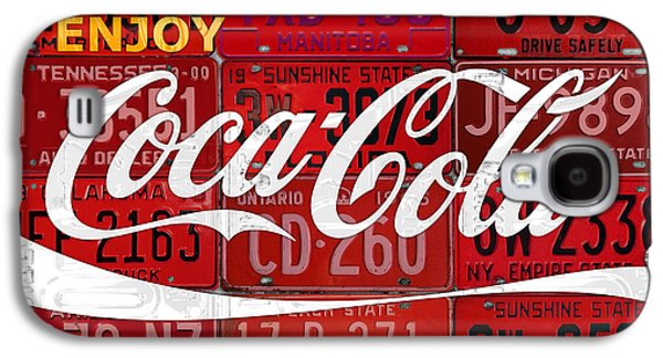 Coca Cola Enjoy Soft Drink Soda Pop Beverage Vintage Logo Recycled License Plate Art Galaxy S4 Case by Design Turnpike
