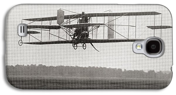 Franklin Drawings Galaxy S4 Cases - Cody S Biplane In The Air In 1909 Galaxy S4 Case by Ken Welsh