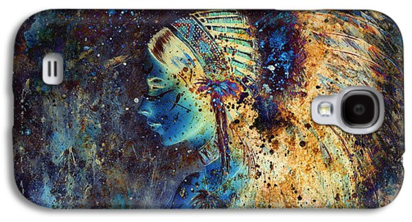 Native American Spirit Portrait Digital Galaxy S4 Cases - Collage Painting Of A Young Indian Wcollage Painting Of A Young Indian Woman Wearing A Gorgeous Feat Galaxy S4 Case by Jozef Klopacka