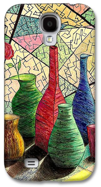 Interior Still Life Drawings Galaxy S4 Cases - Color drawing of Vases with flower Galaxy S4 Case by Mario  Perez
