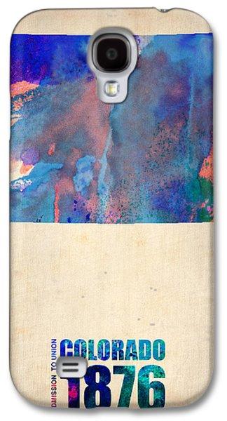 Colorado Galaxy S4 Cases - Colorado Watercolor Map Galaxy S4 Case by Naxart Studio