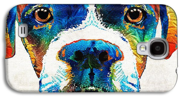 Boxer Galaxy S4 Cases - Colorful Boxer Dog Art By Sharon Cummings  Galaxy S4 Case by Sharon Cummings