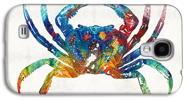 Claw Paintings Galaxy S4 Cases - Colorful Crab Art by Sharon Cummings Galaxy S4 Case by Sharon Cummings