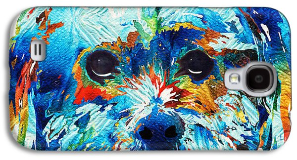 Puppies Galaxy S4 Cases - Colorful Dog Art - Lhasa Love - By Sharon Cummings Galaxy S4 Case by Sharon Cummings