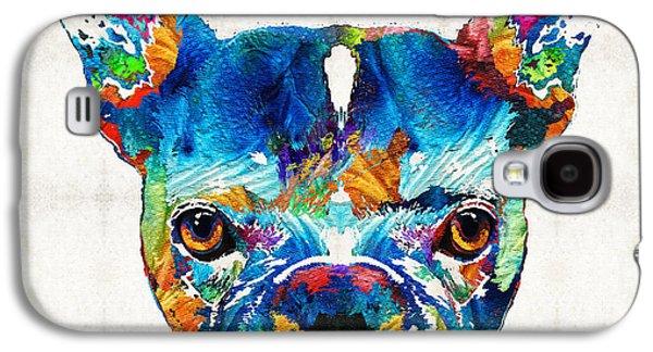 Dog Pop Art Galaxy S4 Cases - Colorful French Bulldog Dog Art By Sharon Cummings Galaxy S4 Case by Sharon Cummings