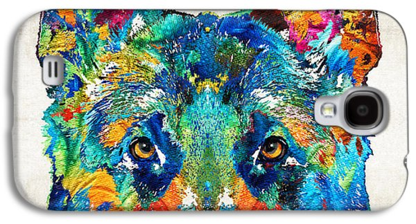 Police Paintings Galaxy S4 Cases - Colorful German Shepherd Dog Art By Sharon Cummings Galaxy S4 Case by Sharon Cummings