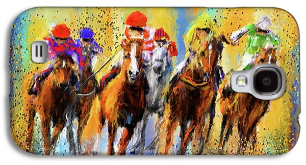 Horse Racing Galaxy S4 Cases - Colorful Horse Racing Impressionist Paintings Galaxy S4 Case by Lourry Legarde