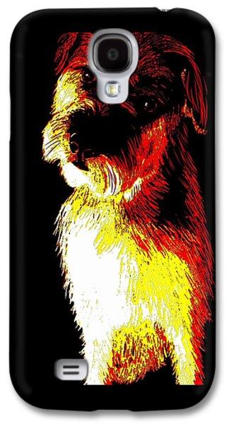 Puppy Digital Art Galaxy S4 Cases - Colorful little terrier puppy Galaxy S4 Case by Karen Harding