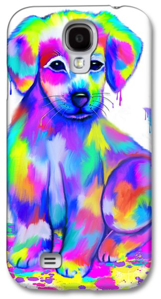 Colorful Painted Puppy Galaxy S4 Case by Nick Gustafson