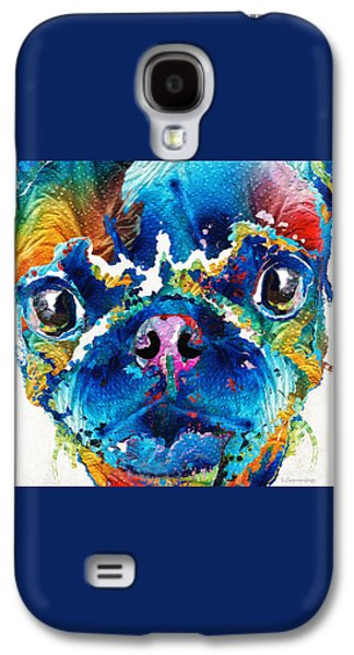 Puppies Galaxy S4 Cases - Colorful Pug Art - Smug Pug - By Sharon Cummings Galaxy S4 Case by Sharon Cummings