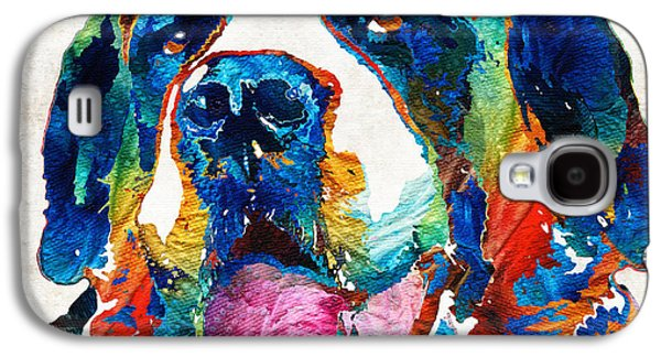 Dog Pop Art Galaxy S4 Cases - Colorful Saint Bernard Dog by Sharon Cummings Galaxy S4 Case by Sharon Cummings