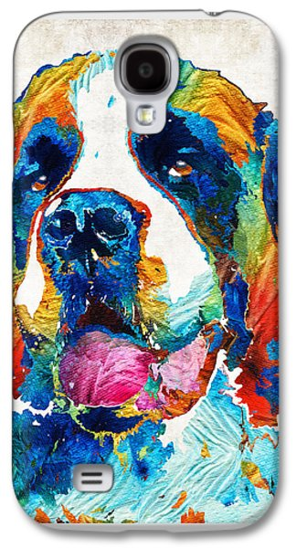 Working Breed Galaxy S4 Cases - Colorful Saint Bernard Dog by Sharon Cummings Galaxy S4 Case by Sharon Cummings