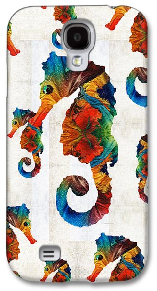 Colorful Seahorse Collage Art By Sharon Cummings Galaxy S4 Case by Sharon Cummings