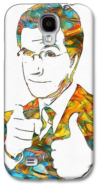 Satire Mixed Media Galaxy S4 Cases - Colorful Stephen Colbert Galaxy S4 Case by Dan Sproul