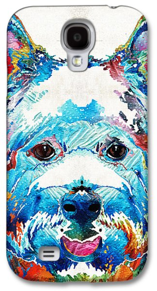 Dog Pop Art Galaxy S4 Cases - Colorful West Highland Terrier Dog Art Sharon Cummings Galaxy S4 Case by Sharon Cummings