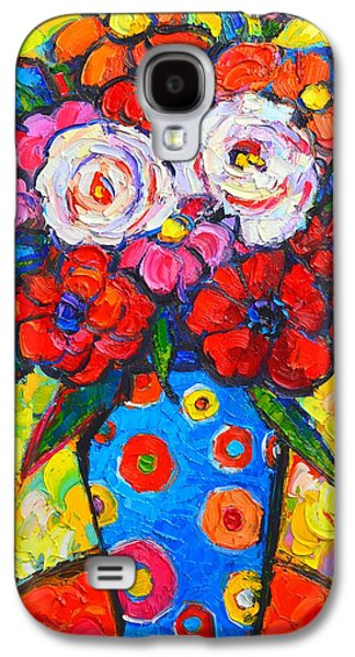 Nature Abstract Galaxy S4 Cases - Colorful Wild Roses Bouquet - Original Impressionist Oil Painting Galaxy S4 Case by Ana Maria Edulescu