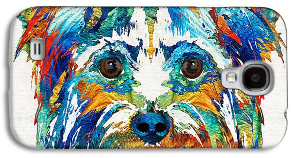 Dog Pop Art Galaxy S4 Cases - Colorful Yorkie Dog Art - Yorkshire Terrier - By Sharon Cummings Galaxy S4 Case by Sharon Cummings