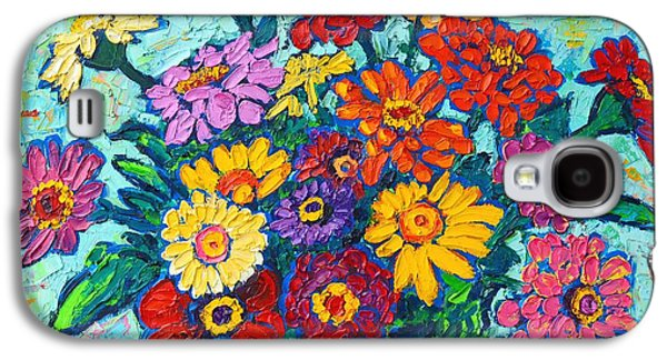 Nature Abstracts Galaxy S4 Cases - Colorful Zinnias Bouquet Closeup  Galaxy S4 Case by Ana Maria Edulescu