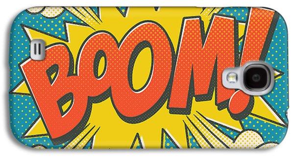 4th July Galaxy S4 Cases - Comic Boom on Blue Galaxy S4 Case by Mitch Frey