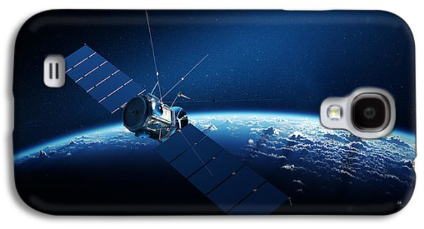 Connection Galaxy S4 Cases - Communications satellite orbiting earth Galaxy S4 Case by Johan Swanepoel