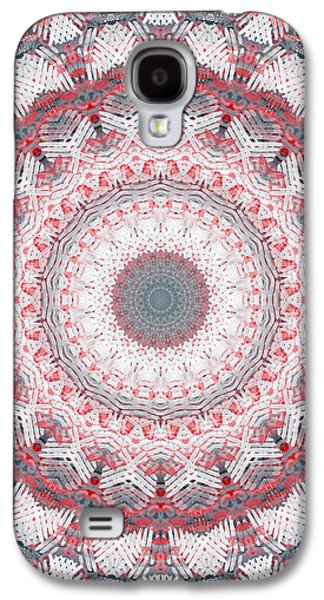 Industrial Mixed Media Galaxy S4 Cases - Concrete and Red Mandala- Abstract Art by Linda Woods Galaxy S4 Case by Linda Woods