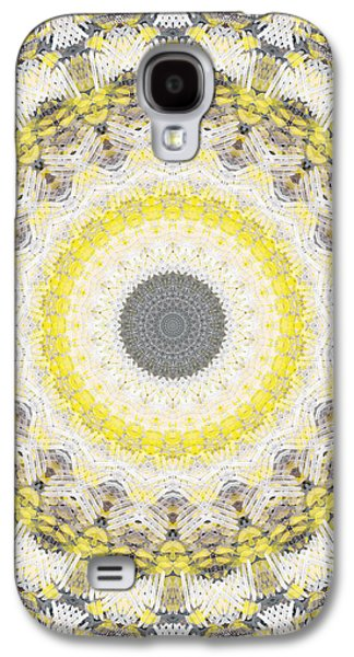 Industrial Mixed Media Galaxy S4 Cases - Concrete and Yellow Mandala- Abstract Art by Linda Woods Galaxy S4 Case by Linda Woods