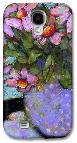 Interior Still Life Paintings Galaxy S4 Cases - Coneflowers in Lavender Vase Galaxy S4 Case by Blenda Studio