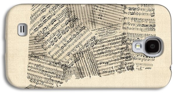 Connecticut Sheet Music Map Galaxy S4 Case by Michael Tompsett