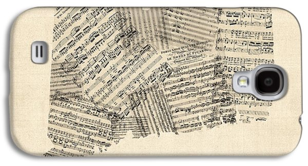 Old Map Digital Galaxy S4 Cases - Connecticut Sheet Music Map Galaxy S4 Case by Michael Tompsett