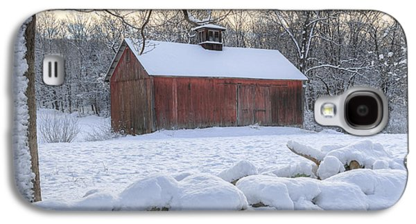 Red Barn In Winter Photographs Galaxy S4 Cases - Connecticut Winter Barns Galaxy S4 Case by Bill Wakeley