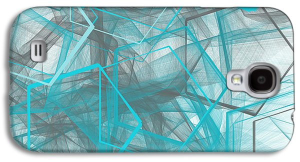 Blue Abstracts Galaxy S4 Cases - Connecting Angles Galaxy S4 Case by Lourry Legarde