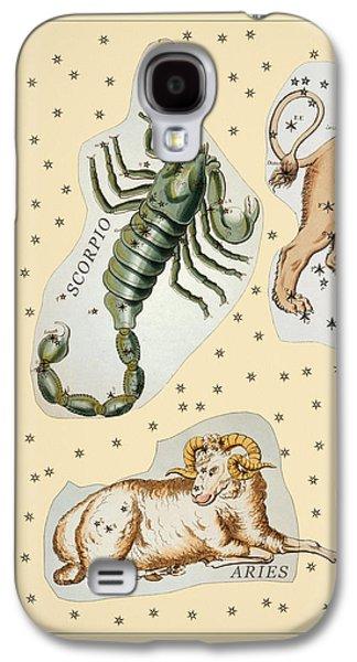 Constellations Drawings Galaxy S4 Cases - Constellations Antique no2 Galaxy S4 Case by Grigorios Moraitis