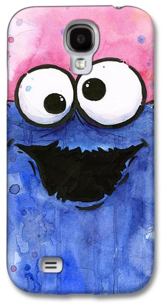 Character Portraits Mixed Media Galaxy S4 Cases - Cookie Monster Galaxy S4 Case by Olga Shvartsur