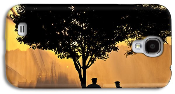 4th July Galaxy S4 Cases - Cops watch a Fireboat on the Hudson River Galaxy S4 Case by Chris Lord