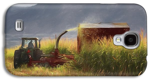 Machinery Galaxy S4 Cases - Corn Harvest Galaxy S4 Case by Donna Kennedy