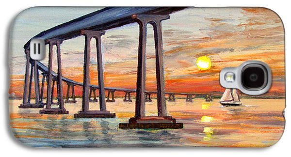 Sun Galaxy S4 Cases - Coronado Bridge Sunset with Sailboat Galaxy S4 Case by Robert Gerdes