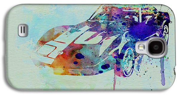 Old Car Drawings Galaxy S4 Cases - Corvette watercolor Galaxy S4 Case by Naxart Studio