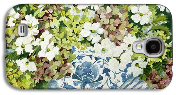 Cosmos Paintings Galaxy S4 Cases - Cosmos and hydrangeas in a chinese vase Galaxy S4 Case by Jennifer Abbot