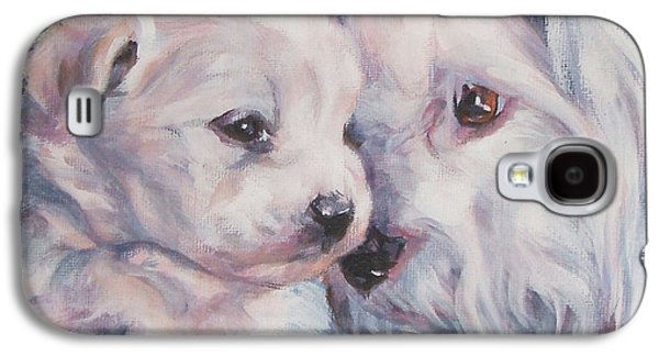 Coton Galaxy S4 Cases - Coton De Tulear with pup Galaxy S4 Case by Lee Ann Shepard