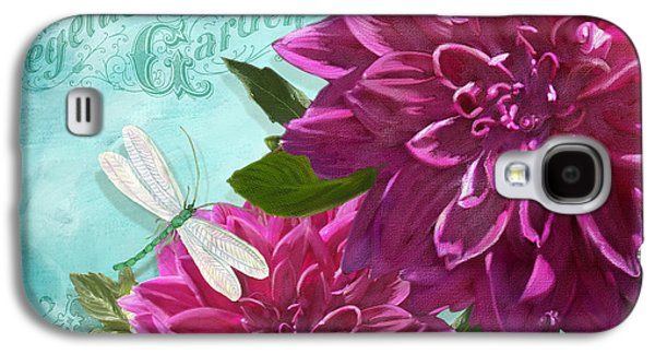 Flora Mixed Media Galaxy S4 Cases - Cottage Garden - Dinner Plate Dahlias w Dragonfly Galaxy S4 Case by Audrey Jeanne Roberts