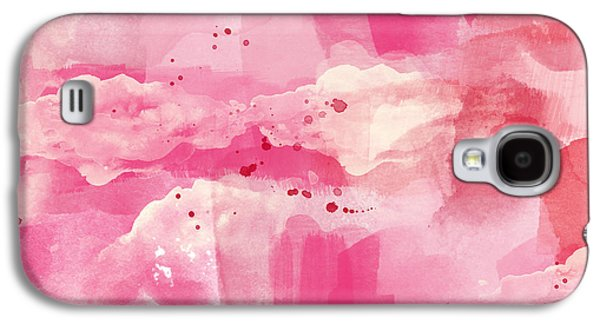 Modern Abstract Galaxy S4 Cases - Cotton Candy Clouds- Abstract Watercolor Galaxy S4 Case by Linda Woods