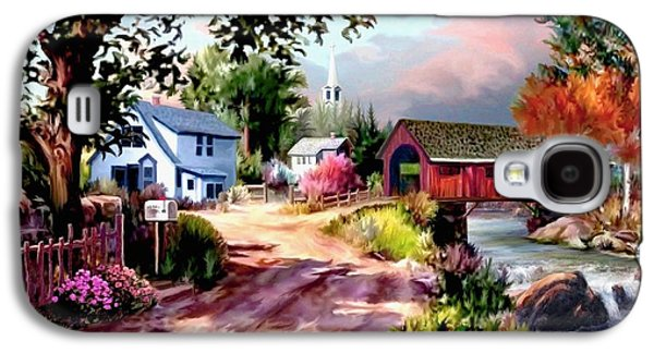 Covered Bridge Paintings Galaxy S4 Cases - Country Covered Bridge Galaxy S4 Case by Ronald Chambers