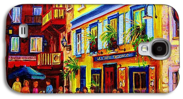 Quebec Streets Paintings Galaxy S4 Cases - Courtyard Cafes Galaxy S4 Case by Carole Spandau