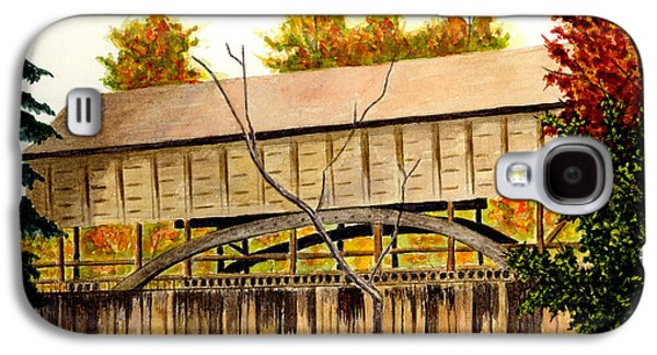 Covered Bridge Paintings Galaxy S4 Cases - Covered Bridge - Mill Creek Park Galaxy S4 Case by Michael Vigliotti