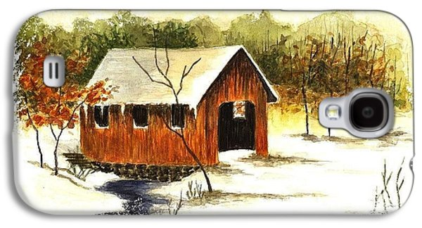 Covered Bridge Paintings Galaxy S4 Cases - Covered Bridge in the Snow Galaxy S4 Case by Michael Vigliotti