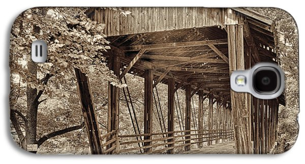 Covered Bridge Paintings Galaxy S4 Cases - Covered Bridge  Sepia Tone Galaxy S4 Case by Mindy Sommers