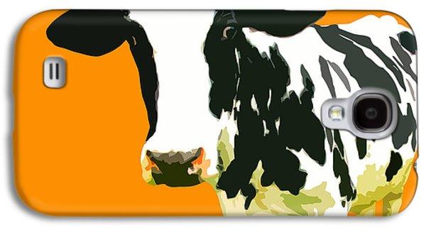 Cow Digital Galaxy S4 Cases - Cow in orange world Galaxy S4 Case by Peter Oconor