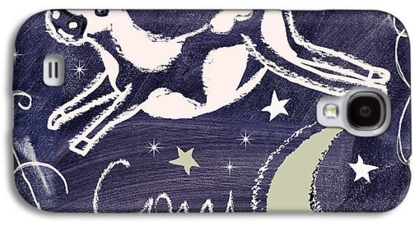 Mother Goose Galaxy S4 Cases - Cow Jumped Over the Moon Chalkboard Art Galaxy S4 Case by Mindy Sommers