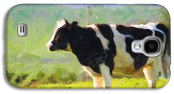 Cow Digital Galaxy S4 Cases - Cow On A Hill Galaxy S4 Case by Wingsdomain Art and Photography
