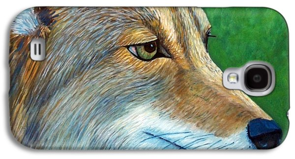 Dog Close-up Paintings Galaxy S4 Cases - Coyote Logic Galaxy S4 Case by Brian  Commerford